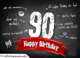Komplimente Geburtstagskarte Zum 90 Geburtstag Happy Birthday