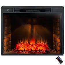 full image for freestanding electric fireplace insert heater black tempered glass remote control with shelves friday