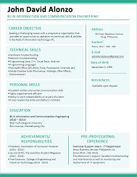 Example Of Resume For Fresh Graduate Information Technology Sample Resume Format For Fresh Graduates OnePage Format 4