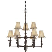 talista 9 light antique bronze chandelier with fabric shades