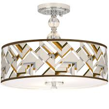 details about craftsman mosaic giclee 16 wide semi flush ceiling light