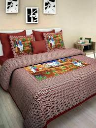 bed sheets indian print cotton and duvet set with sun design