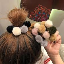 <b>Girls Hairpins with Small</b> Lovely Soft Fur Pompom Mini Ball Gripper ...