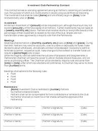 Sample Partnership Agreement Form Investment Club Agreement Investor Contract Template
