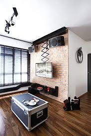 interior design furniture minimalism industrial design. While The Exposed Brick Wall Can Appear Rough, Warm Timber Floors Help Lend Some Warmth And Cosiness To This Living Room. Interior Design Furniture Minimalism Industrial