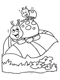 Kleurplaat Lieveheersbeestjes Op Een Blad Kleurplatennl