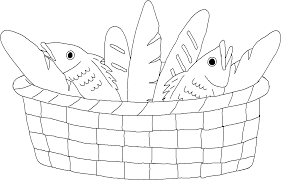 Coloring Page - Bread and Fish in a Basket