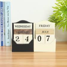 rustic vintage wood block perpetual calendar wooden office home desk decor diy 1 of 8free