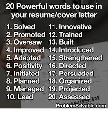 cover letter power words 20 powerful words to use in your resumecover letter 1 solved 11
