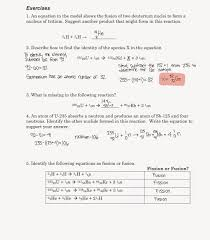 nuclear fission and fusion worksheet