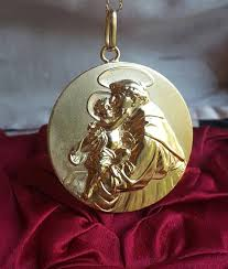 spanish saint anthony medal pendant 18k gold plated silver catholic jewelry religious medal catholic gift religious gift st anthony