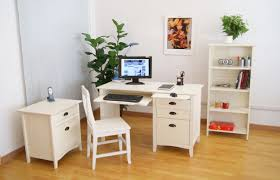 white home office desks. Exquisite Corner White Home Office Design With L-shaped Desk Filling Cabinet And Floating Bookcase As Well Upper Open Shelves Black Desks