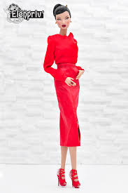red leather midi pencil skirt with pockets for fashion royalty fr2 and similar size dolls