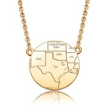 14k yellow gold circle map necklace