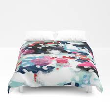 aubrey abstract painting in bright colors pink navy white gold duvet cover