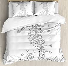 details about animal king size duvet cover set seahorse heraldic art with 2 pillow shams