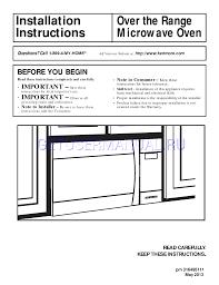 kenmore microwave black. kenmore microwaves 1.7 cu. ft. over-the-range microwave - black installation guide download free