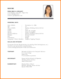 Ideas Of Simple Resume Format Sample Doc Brilliant 10 Simple Biodata