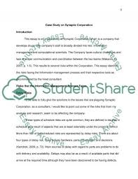 case study on synaptic corporation essay example topics and well case study on synaptic corporation essay example
