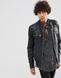 goosecraft matte leather biker jacket in black black