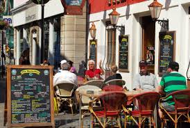 Outdoor pub seating in gibraltar stock image our image licences