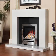 brancio marble fireplace shown in a blanco micro with a polished black granite back panel and