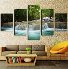 Large Paintings For Living Room 2017 Wholesale 5 Panel Waterfall Painting Canvas Wall Art Picture
