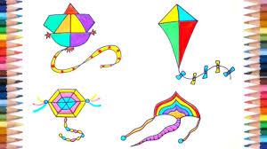 How To Make Designer Kite How To Draw Kite Flying Easy Kites For Kids Easy Drawings