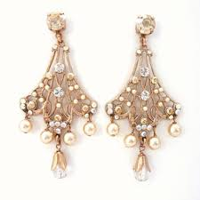 rose gold plated swarovski and pearl post chandelier earrings