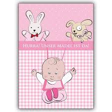 Süße Babykarte Mädchen Zur Geburt Mit Stofftieren Hurra
