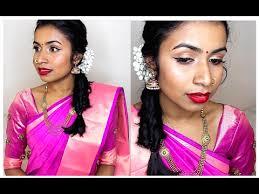 traditional tamil south indian wedding guest makeup hair tutorial thuri makeup you