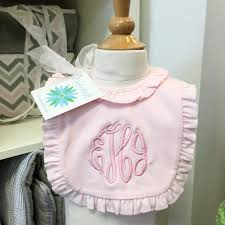 personalized ruffel baby bib preppy monogrammed gifts