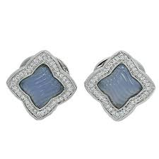 david yurman quatrefoil chalcedony diamond white gold earrings for