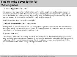 How To Write A Cover Page Impressive Rd Engineer Cover Letter