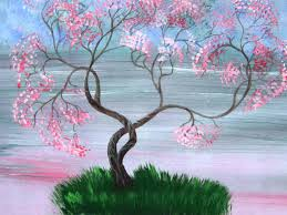 pink and green spring lake with cherry blossom 32 large acrylic painting by ksavera 2016