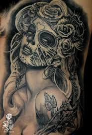 Mexican Style Painted Black Ink Seductive Woman Tattoo On Chest
