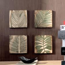 kokoware x wood palm leaf wall art set of 4 201101 on leaf wall art set with li add a weathered timeworn look to your home decor with a set of