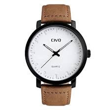 civo men s brown leather band analogue quartz wrist watch mens 30m civo men s brown leather band analogue quartz wrist watch mens 30m waterproof luxury classic business casual