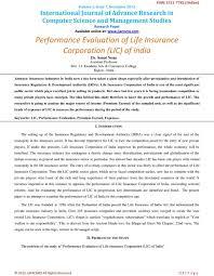 Performance Evaluation Of Life Insurance Corporation Lic Of India