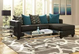 Living Room Furniture Nj 3002 Sectional Sofa In Charcoal Black Chenille Fabric