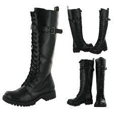 volatile combat women s boots knee high faux leather vegan shoes