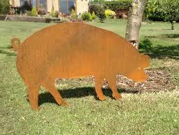 rusty piglet pig garden art pig gift pig silhouette metal garden ornament rusty metal pig rusty garden decor rusty piglet
