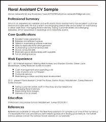 Cv Shop Assistant Floral Assistant Cv Sample Myperfectcv