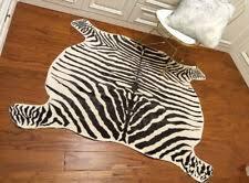 large zebra cowhide rug cowskin cow hide faux leather carpet 4 9 x4 8