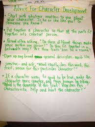 Advice For Character Development Writing Anchor Charts