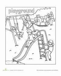 Playground Coloring Page School Playgrounds Beaches Picnics