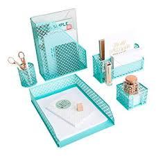 Aqua   Teal 5 Piece Cute Desk Organizer Set   Desk Organizers And  Accessories For Women
