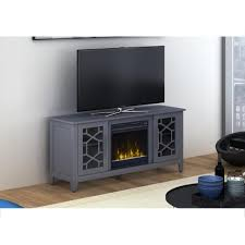 media console electric fireplace in cool gray
