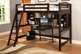desk and bed wooden loft bed with built in desk ladder and bookshelf in dark brown finishing desk bunk bed plans countrycodes co