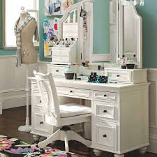 bedroom vanity sets with lights. Decorative White Bedroom Vanity Table With Wood Swivel Chair Front Blue Painted Wall Above Laminate Flooring Used Makeup Accessories Sets Lights E